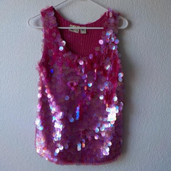 Liz Claiborne Tops - Liz Claiborne Sequin Pink L Top Tank Vintage Silk